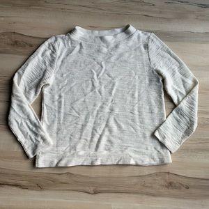 LOFT Textured White Sweater Medium